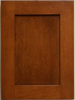 A maple shaker door in a stained finish