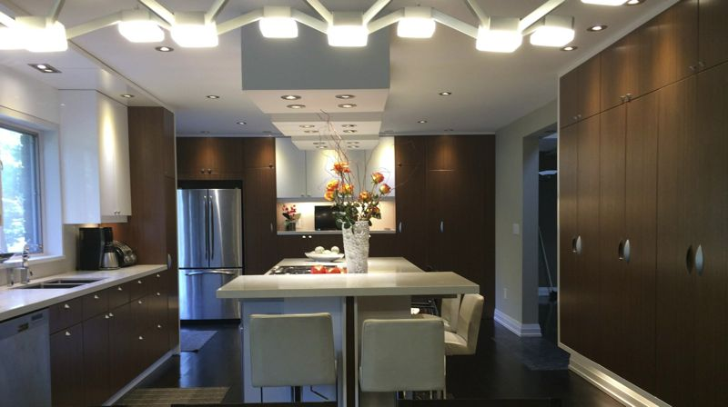 a modern kitchen renovation in king city ontario using ikea cabinet frames and custom made - Canadian Made Kitchen Cabinets
